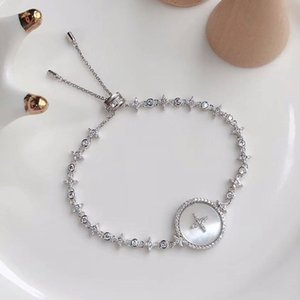 QY.APM-B005 Chain Pure Silver Star Bracelet Female Classic White Mother-of-pearl Retractable Bracelets