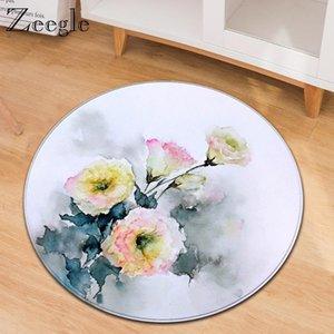 Carpets Zeegle Cartoon Round Carpet Table Living Room Soft Mat Washable Kids Bedside Comfortable Rug Modern Area