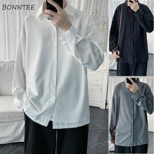 Men Shirts Casual Loose Turn-down Collar Solid High Quality Shirt Of Teens Single Breasted Long Sleeve Fashion Simple Office Men's