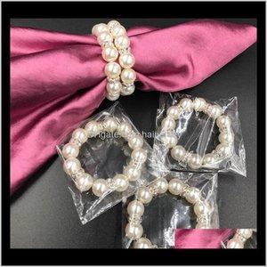 Занавес полюсов 100 шт. / Лот белые жемчужины кольца салфетки пряжка для свадьбы приема вечеринка Стол украшения поставки NJAZ8 B5Q02