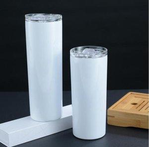 20 oz 30oz Sıska Tumblers Boş Süblimasyon Ince Fincan Kahve Kupalar Kapaklı ve Plastik Hasır Bira Kupa Deniz Nakliye DGD