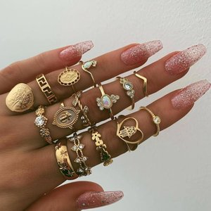 Wedding Rings Retro 15 Pcs sets Charm Arrival Golden Color Heart Three Crystal For Women Ladies Jewelry Gift