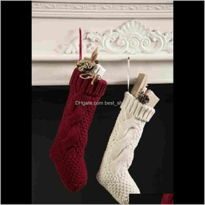 Decorations Christmas Party Santa Claus Elf Shoe Boots Candy Gifts Bag Stocking Xmas Knitted Crochet Thigh High Stockings Gift Ypvmq F5Tn7