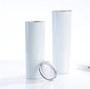 20oz 30oz Sublimation Straight Tumble Stainless steel blank white skinny cup with lid straw Cylinder water bottle coffee EWB6369
