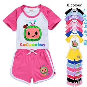 Cocomelon Cartoon Printed Kids Summer Tracksuit Short Sleeve +SHorts Two-piece Suit Clothing Candy Colors Casual Outfits Clothes G496FSR