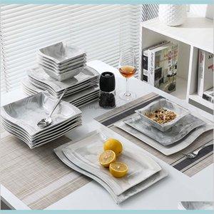 Durée de vaisselle Cuisine, Bar à manger Home Jardin Malacasa Flora 26 pièces Nordic Nordic Style Européen en porcelaine en porcelaine avec bol, dîner