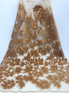 Ribbon High Quality Nigerian Lace Fabrics 2021 With Suqins African French Net Fabric Embroidered Tulle Mesh RF31481
