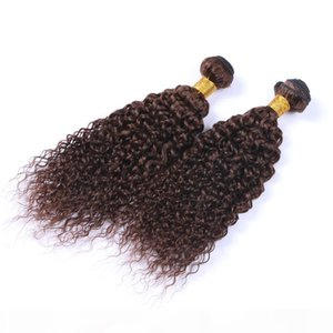 Средние коричневые человеческие наращивания волос 3 шт. Кудрявая вьющиеся девственницы Малайзии # 4 Шоколада Браун Реми Человеческие волосы Плетение Человеческих волос БЕСПЛАТНО