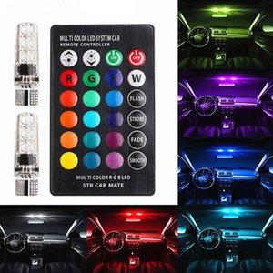 T10 W5W LED Car Luzes LED Bulbos RGB com controle remoto 194 168 501 LED Lâmpada de Lâmpada Luzes Luzes Branco Âmbar 12V QC49