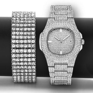 Bracelet Silver Men Out Set Bling Lab Simulated Luxury CZ Gold Hip Watch Zircon & Hop Gift Iced Rphlf