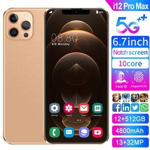 6.7 بوصة ملء الشاشة 4G / 5G الهاتف الذكي I12PRO مع 12 + 512g ذاكرة كبيرة موبايل تدعم الألعاب، بصمات الأصابع، فتح الوجه