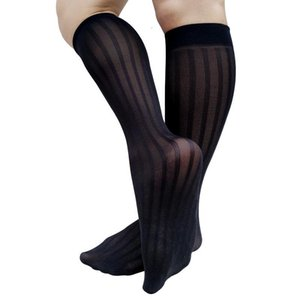 Sheer Thin Mens Long Socks Knee High See Through Sexy Stocking Tube Hose Striped Black Navy Fashion Gentlemen Men's