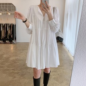 Bayan Elbiseler Varış 2021 Bahar V Boyun Beyaz Pileli Mini Elbise Puf Kollu Robe Manche Longue Moda Giyim XC102 Günlük