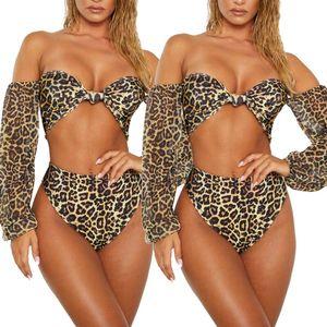 Women's swimwear Bikini Set Sexy Ethnic Style Vintage Leopard Printed Push-up Padded Bra Bandage Swimsuit Triangle Bathing Suit