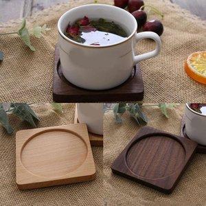 Tea Coffee Cup Pad Placemats Decor Walnut Wood Coasters Durable Heat Resistant Square Round Drink Mat 1 Pcs Bowl Teapot Mats & Pads