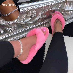 Drop Winter Home Slippers Fashion Women Faux Fur Warm Shoes Slip on Flats Female Flip Flops Plus Size36-41 Whosale 210622
