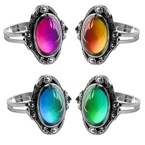 Color Change Mood Ring Oval Emotion Feeling Changeable Ring Temperature Control Thermochromic Gemstone Ring