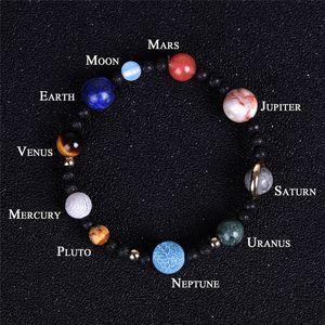 Natural Stone Beaded Strands Galaxy Solar System Universe Nine Planets Earth Stars Moon Bracelets for Women Mens Fashion Beads Bang DDA5703