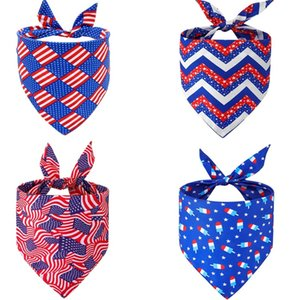 America Independence Day Pet Triangle Scarf Fashion Cat Dog Saliva Scarf Pet Apparel Supplies 6 Style T500653