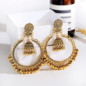 Classic Retro Big Round Gold Carved Jhumka Earrings Oorbellen Women's Vintage Bell Tassel Dangling Dangle & Chandelier