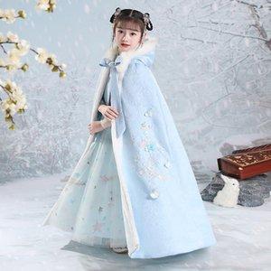 Hanfu стеганая девушка с капюшоном накидка на мыс зимой вышивка загуститель загуститься плащ китайских детей древняя теплая мантия детский год носить этническую одежду