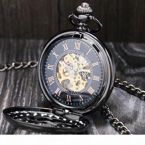 Lucury Steampunk Mechanical Pocket Watch Silver Black Hollow Flower Steel Hand Wind Men Women Pendant Fob Chain Birthday Gifts