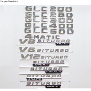 Chrome Trunk Letters Badge Badges Emblem Emblems sticker for Mercedes Benz GLC200 GLC280 GLC300 GLC350 GLC400 GLC500 V8 BITURBO 4MATIC