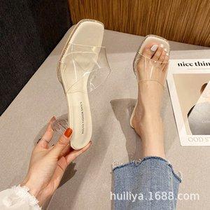 Luxury Dress Shoes Sandal Wear 2021 Thick Transparent Cool Trawl Red Herringbone Belt High Heels 732-1