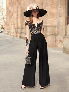 Modern Black 2021 Jumpsuit Women Party Formal Prom Dresses Sheer Neck Lace Applique Sexy Back Evening Gowns Pant Suit Robe De Marrige