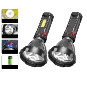 Flashlights Torches LED Hand Flash Light Side Lamp Recharge Battery USB Rechargeable COB Portable Search Outdoor Lighting