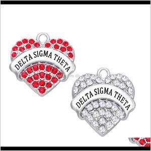 Pendants Arts, Crafts Gifts Home & Garden Drop Delivery 2021 10Pcs Diy Delta Sigma Theta Greek Sorority Dst Heart Crystal Organization Charm