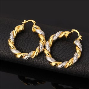 2015 Two-Tone Gold Necklace Set Platinum 18K Real Gold Plated Trendy Pendant Necklace Hoop Earrings Women Jewelry Set 601 K2