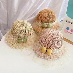 Baby Caps Kids Hats Девочки Ведро соломенные Шляпы Детские аксессуары Сладкий Бантик Детская Крышка Кружева Жемчужина Летнее Солнце B7530