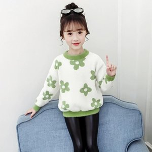 Pullover Girls Sweater Baby's Coat Outwear 2021 Luxury Design Plus Velvet Thicken Warm Winter Autumn Knitting Children's Clothing