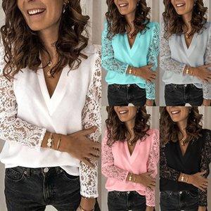 Women Lace Blouses Long Sleeve V Neck Blouse Shirts Casual Ladies Tops Shirt Female Plus Size Blouse Tops