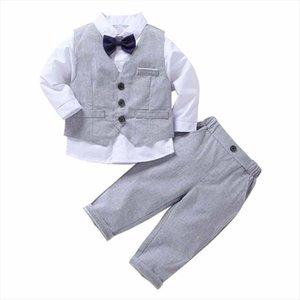 Baby Boys Suits Spring Autumn Fashion Formal Suit British Wind Party Childrens Gentleman Tie Shirt Vest Pants 4pcs