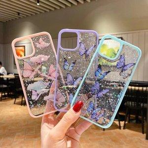 Funda para teléfono de mariposa púrpura láser linda para iPhone 11 Pro Max SE 2 2020 XR X XS MAX 7 8 PLUS GLITTER CUBIERTE CUBIERTA DE SILICONA COQUE