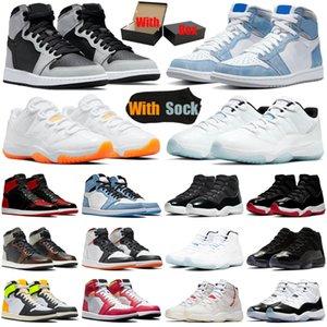 air jordan retro 1s 11s erkek basketbol ayakkabıları 1 11 jumpman Shadow 2.0 Hyper Royal Bright Citrus Bred Patent UNC erkek kadın eğitmenler spor ayakkabı