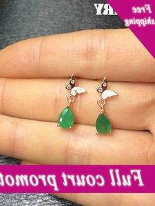 Zhhiry Natural Green Emerald Earring Genuine Solid 925 Sterling Silver Real gem Earrings Women Stone Fine jewelry