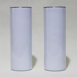 20oz Sublimation Dritto Bicchieri Skinny Skinny Blank Bianco Slim Acciaio inossidabile Acciaio inossidabile 20 OZ Vuoto Tazze a doppia parete isolate da vuoto e paglia di plastica