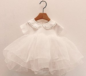 INS Baby girls lace tulle tutu dress rompers summer infant doll lapel short sleeve jumpsuit toddler kids 1st birthday party clothes A6486