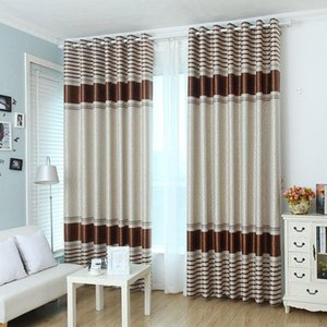 Curtain & Drapes Modern Brown Floral Blackout Curtains For Living Room Bedroom Striped Window Treatments Kitchen Drape Blinds Customized