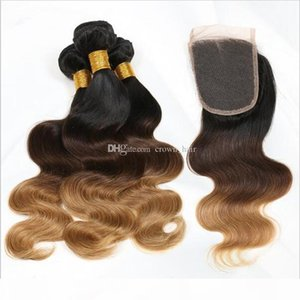Ombre Hair Extensions Three Tone Brown Blonde 1B 4 27 Ombre Brazilian Body Wave Human Hair Weave Bundles 4x4''Closure with 3Hair w