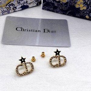 Brincos D Home / Dijia Stud Classic CD Letter Star Femininity Simples moda diamante de alta qualidade