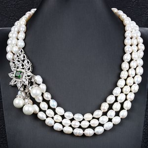 GuaiGuai Jewelry 13mm 3 Strands White Baroque Pearl Necklace Green Crystal CZ Connector Handmade For Women Real Jewlery Lady Fashion Jewellery