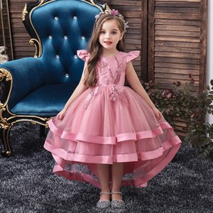 2021 Pearls Flower Girl Dresses Appliqued Beaded Hi-Lo Tiered Tulle Sleeveless Pageant Gowns Ruched Satin Birthday Gown