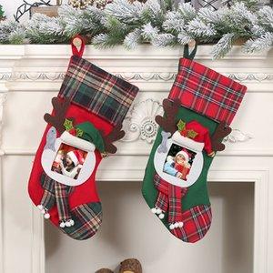 Christmas Stockings with Photo Frame Buffalo Plaid Kids Gift Bags Holiday Party Xmas tree Fireplace Decor GWA8710