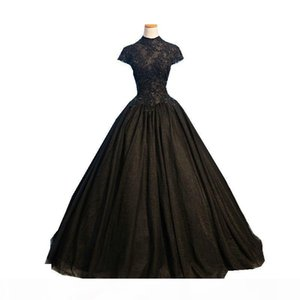 Real Photo Black Ball Gown Evening Dresses Long High Neck Short Sleeve Beading Appliques Tulle Evening Gowns Vestido De Festa Robe De Soiree
