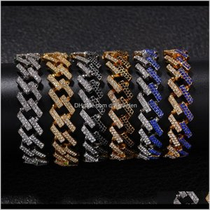 Link Drop Delivery 2021 Unisex Hip Hop Simulated Diamond Bracelets Fashion Jewelry Bling Iced Out Miami Cuban Link Chain Bracelet Charm Rhine