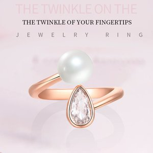 Fashion personality Water Drop rings girl Niche design Light luxury Opening index finger Ring